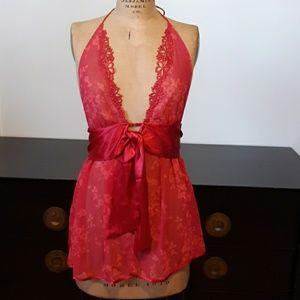 Victoria's Secret Red Halter Babydoll Lingerie, M